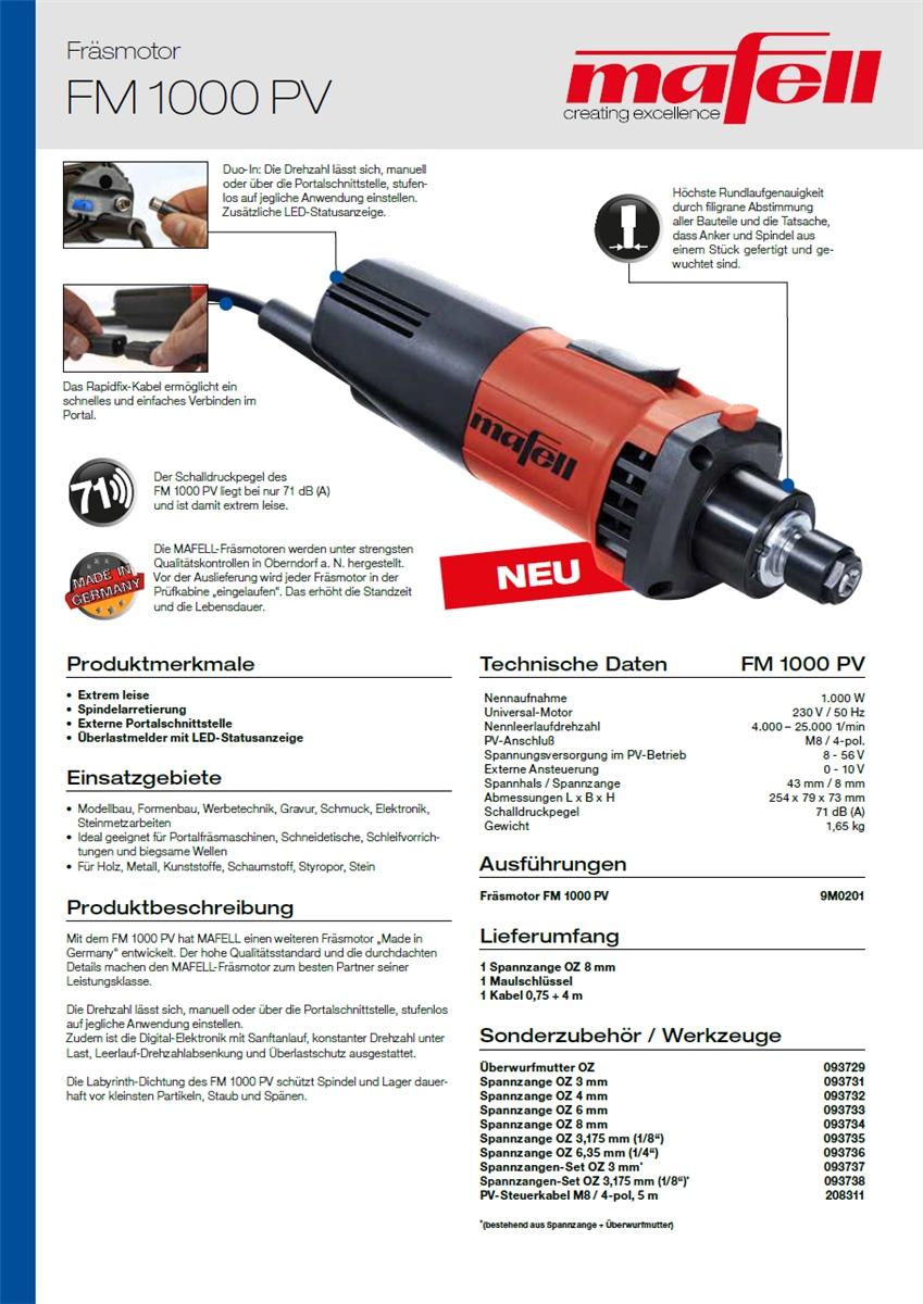 Mafell Spannzange 8 mm für Fräsmotor FM 800 und FM 1000